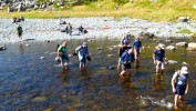 Crossing a creek on the way to the Mistaken Point fossil locality, Newfoundland, Canada. (Copyright by Christian Hallmann)