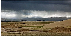 Desert rain in Tibet. The picture was taken during one of our expeditions to the Tibetan Plateau where we study the monsoonal activity over time. (Photo: Roman Witt)